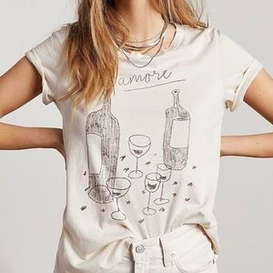 Parí Vino Amore Tee In Natural Cotton Wine Graphic